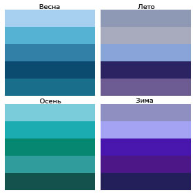 оттенки синего цвета в разное время года