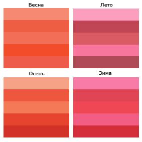 оттенки красного цвета в разное время года
